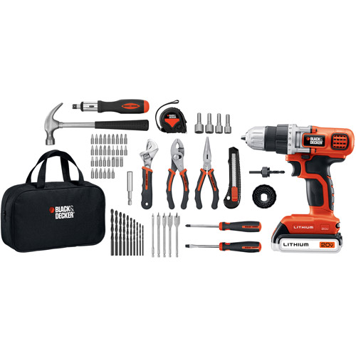 Black & Decker 68-Piece Project Kit with 20-Volt Lithium Drill/Driver, LDX120PK