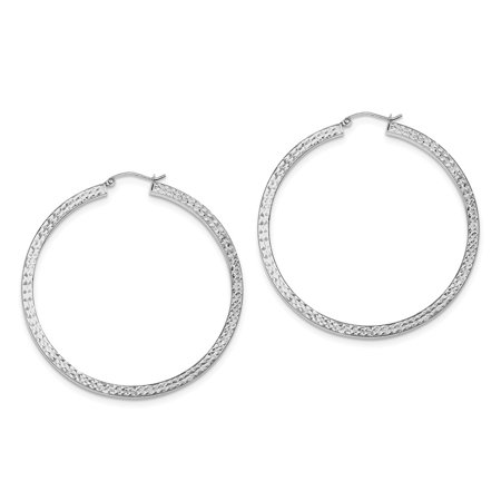 158cf0a9e Lex and Lu - Sterling Silver w/Rhodium D/C 3x55mm Square Tube Hoop ...