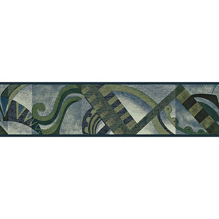 Blue Mountain Cafe Wallpaper Border, Forest Green and Stormy Blue