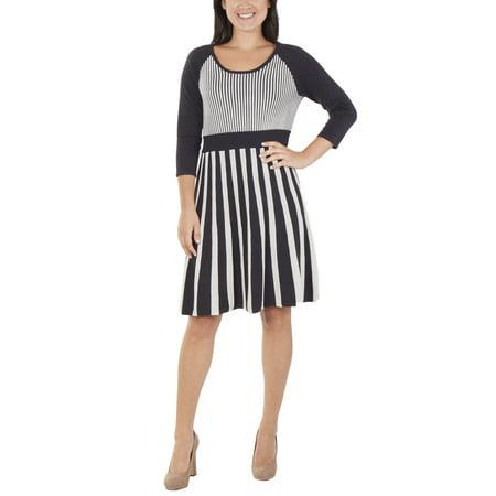 Women's 3/4 Sleeve Scoop Neck Flare Sweater Dress