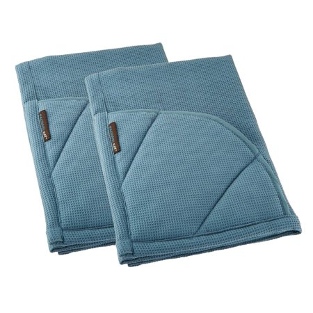 Rachael Ray Kitchen Towel and Oven Glove Moppine – A 2-in-1 Kitchen Towel with Pot-Holders - Smoke Blue / Pack of 2 - Tea Gloves
