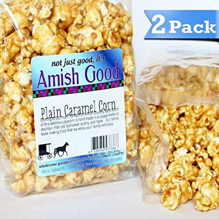 2 Pack Amish Good Premium Caramel Popcorn Hand Stirred in Copper Kettle Real Butter and Coconut Oil Makes Better Caramel Corn! 2