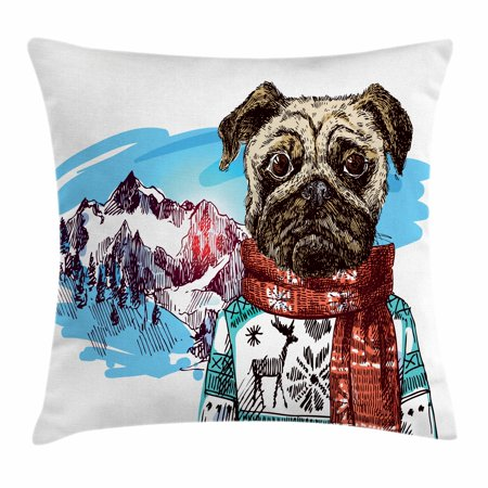 Pug Throw Pillow Cushion Cover, Sketch Style Dog with Winter Clothes Scarf Sweater Mountains Background Open Sky Image, Decorative Square Accent Pillow Case, 18 X 18 Inches, Ruby Blue, by Ambesonne ()