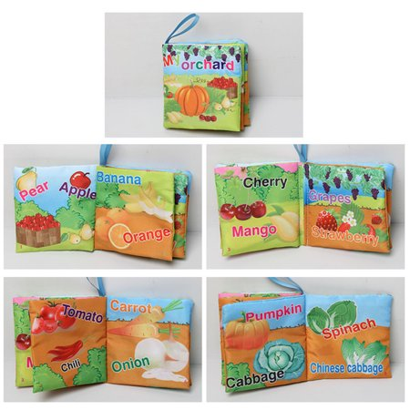 1pc Baby Early Learning Soft Cloth Books Creative Squeak Crinkle Book Puzzle Toys Gifts for Kids Style:vegetables - image 4 of 6