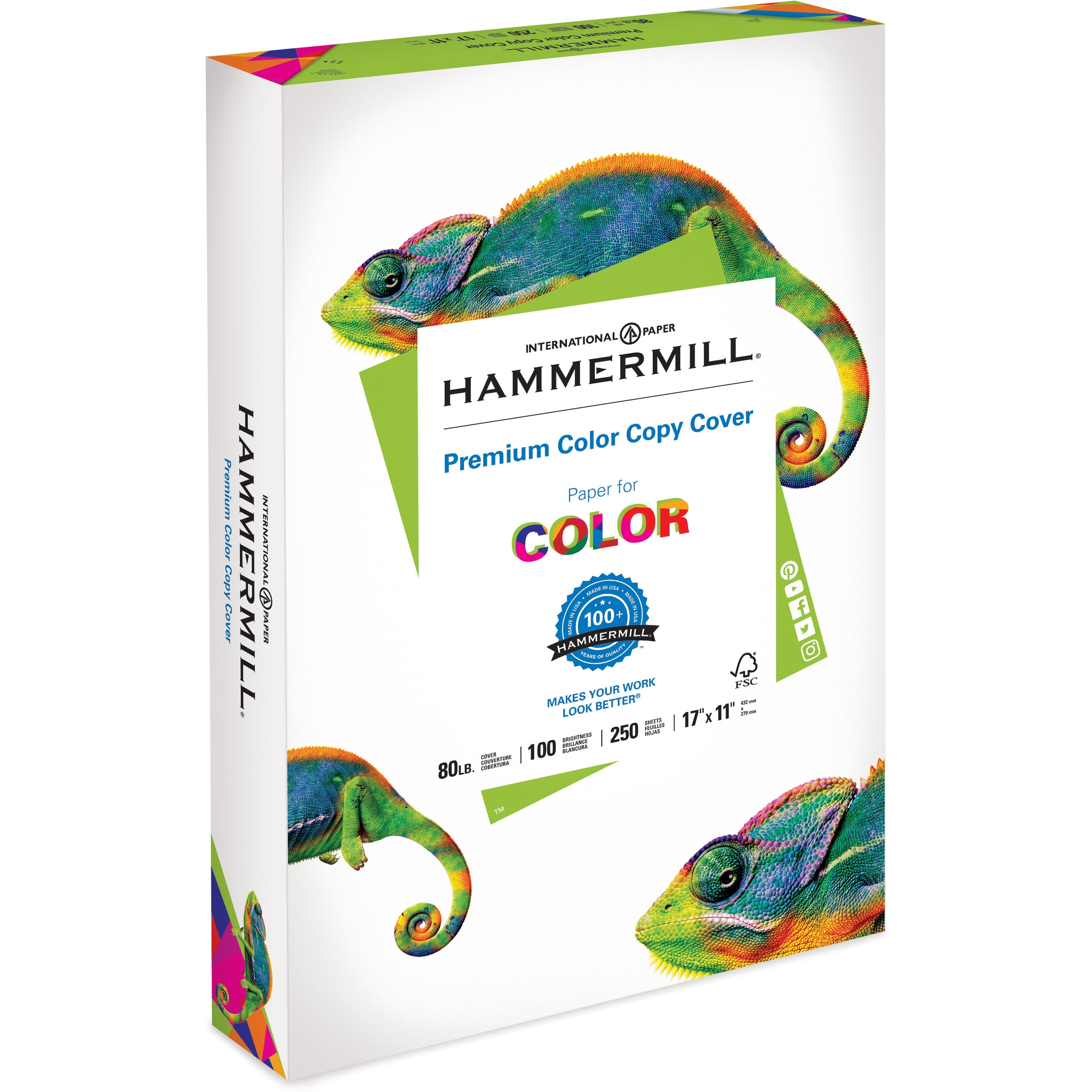 Hammermill, HAM120037, Color Copy Digital Cover Paper, 250 / Pack, White