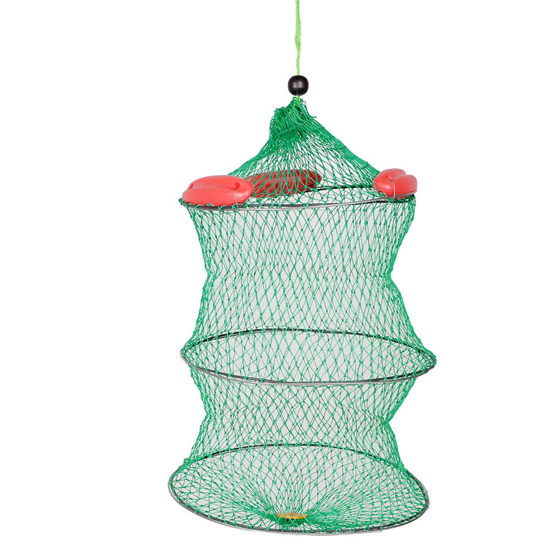 "Unique Bargains 15.7"" x 21.2"" 2 Layers Collapsible Foldable Fishing Landing Net Fish Basket for Fishermen Green Red"