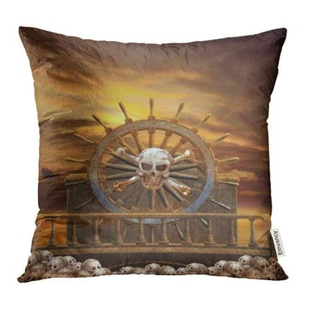 YWOTA Ship Pirate Steering Wheel with Skulls Fantasy Cloud Crossbones Dark Sea Sky Sunset Pillow Cases Cushion Cover 18x18 (Crossbones Set)