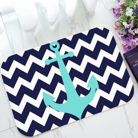 GCKG Navy Blue Chevron with Nautical Anchor Non-Slip Doormat Indoor/Outdoor/Bathroom Doormat 23.6 x 15.7 Inches