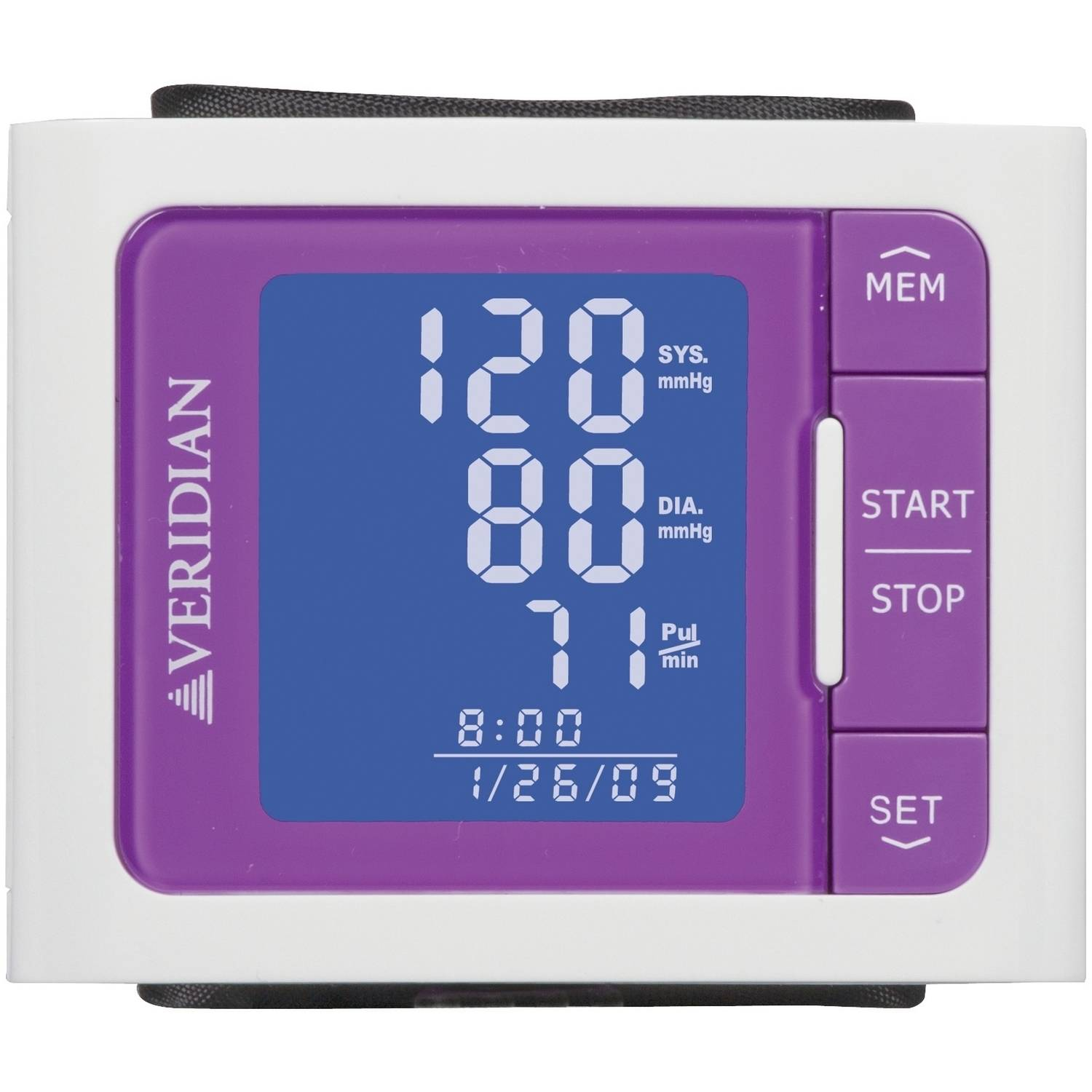 Veridian Vibrant Color Style Blood Pressure Wrist Monitor, Purple
