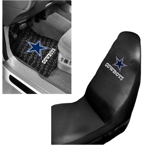 NFL Dallas Cowboys 2pc Front Floor Mats and Dallas Cowboys Car Seat Cover Value Bundle