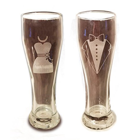 Custom Beer Koozies (Laser Engraved Bride and Groom Glasses - 15 oz Pilsner Beer Glasses - Wedding Toasting Set of 2 - Couples Gifts - Engagement Gift - Original Wedding Gifts - Custom)