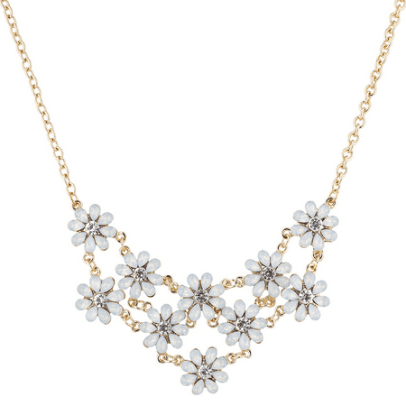 - Lux Accessories GoldTone White Opal Crystal Rhinestone Flower Statement Necklace