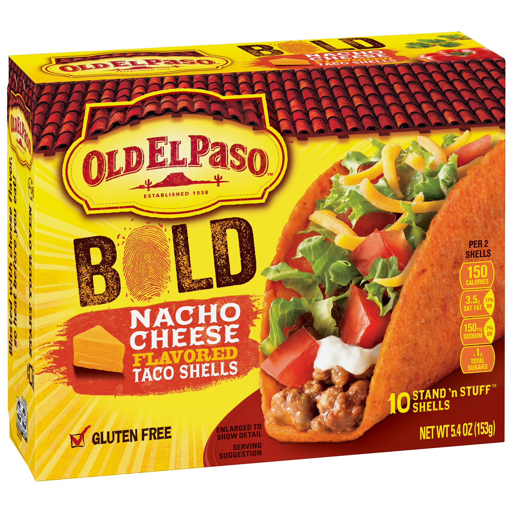 Old El Paso Stand 'N Stuff Bold Nacho Cheese Flavored Shells, 5.4 oz