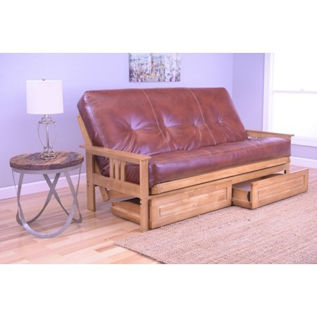 Andover Full Size Futon Sofa Bed and Drawer Set, Honey Oak Wood ...