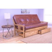 andover full size futon sofa bed and drawer set honey oak wood frame bonded