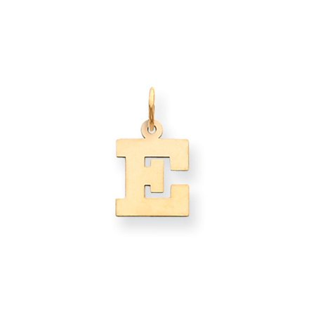 14k Yellow Gold Solid Polished Small Block Intial E Charm - .4 Grams