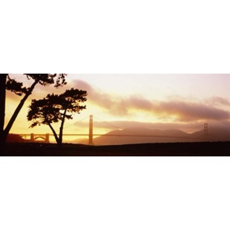 Silhouette of trees at sunset Golden Gate Bridge San Francisco California USA Canvas Art - Panoramic Images (18 x 7)