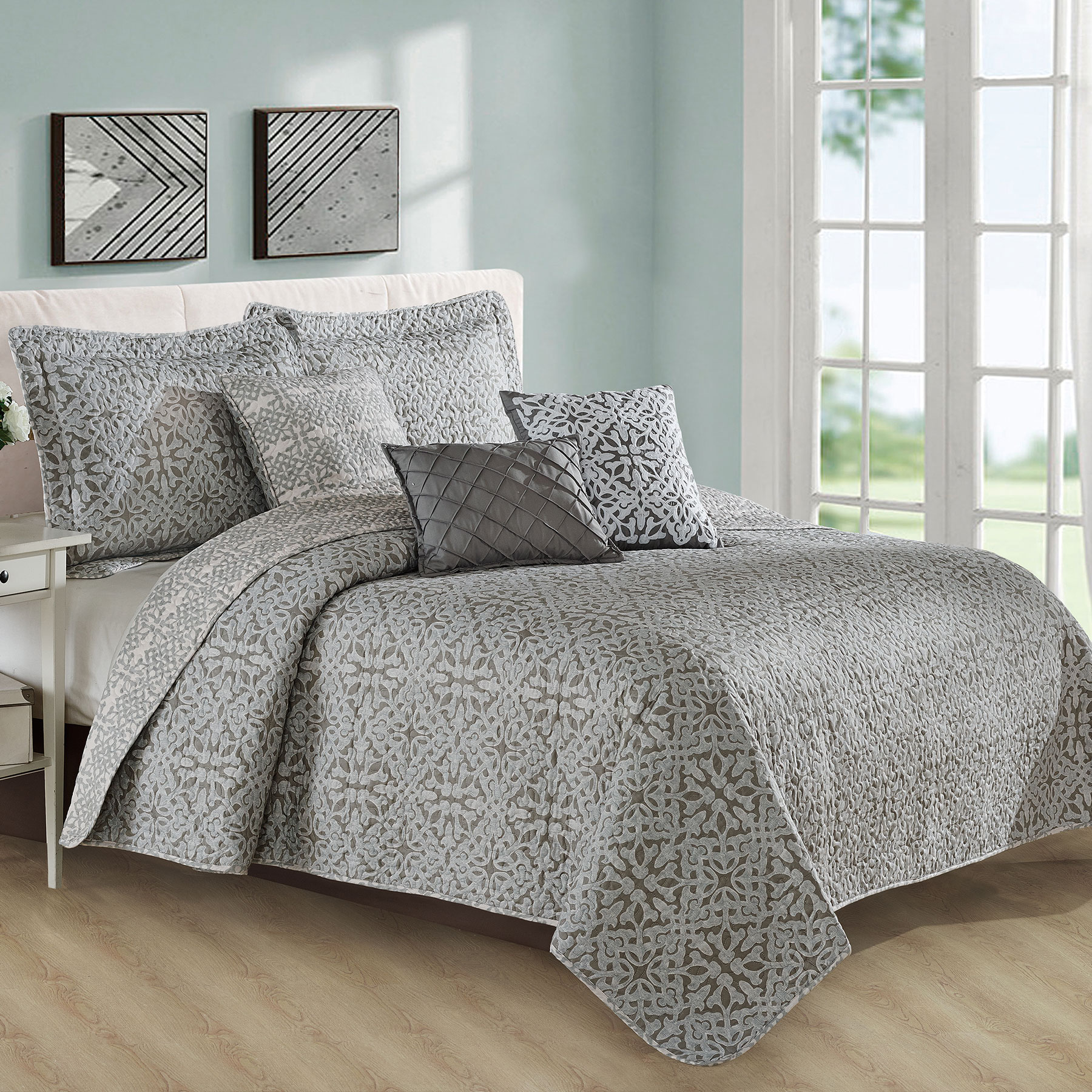 Serenta Bellamy Printed Quilted 6 Piece Bed Spread Set