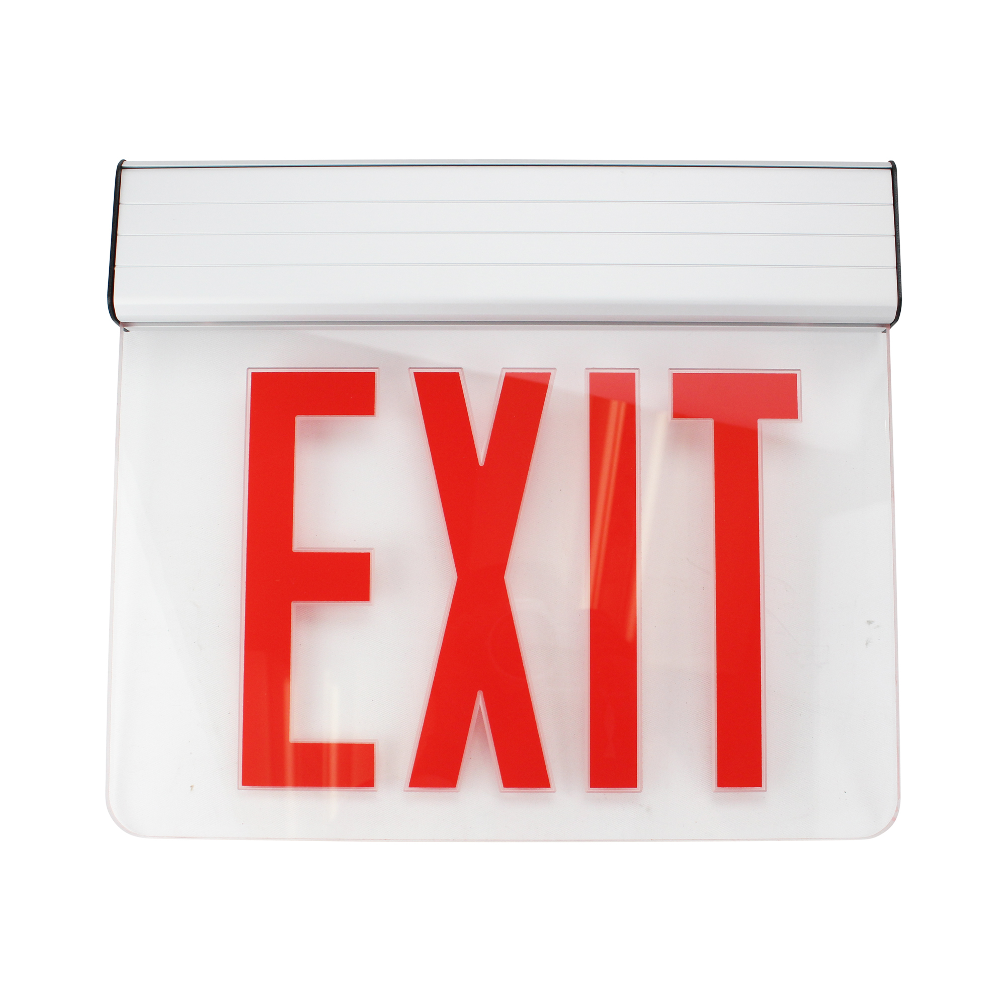 Navilite Nnyxes1Raa Exit & Emergency Lighting, Ny Edge Lit Led Exit Sign, Red Letters, Clear Glass