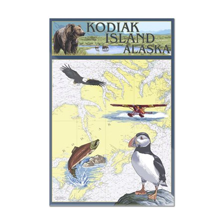 Kodiak Island, Alaska - Nautical Chart - Lantern Press Artwork (24x36 Acrylic Wall Art Gallery Quality)