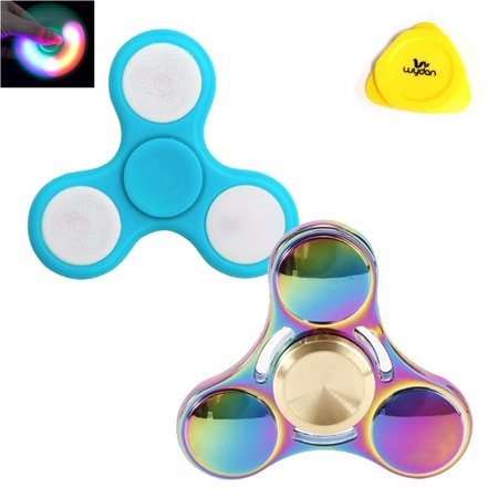 Wydan Fidget Spinner  2 Pack    Hand Toy Stress Anxiety Reducer   Edc Desk Focus Adhd   Set Of 2 Rainbow Ufo   Light Blue Led   Please Purchase From Wydan For Correct Spinners