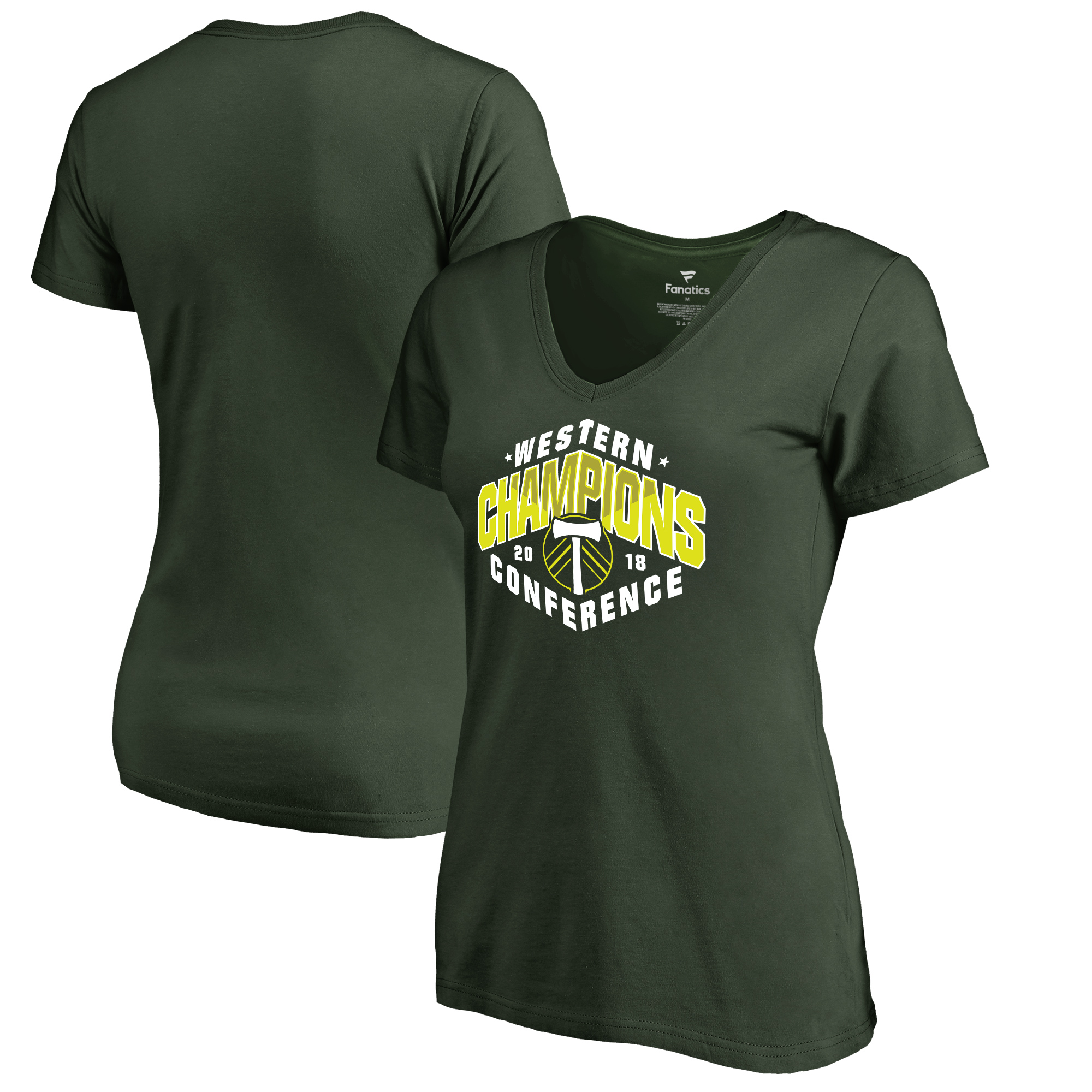 Portland Timbers Fanatics Branded Women's 2018 Western Conference Champions Playmaker V-Neck T-Shirt - Green