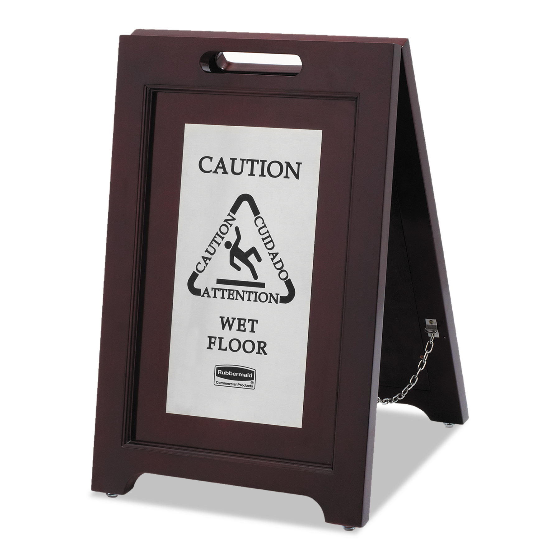 Rubbermaid Commercial Executive 2-Sided Multi-Lingual Caution Sign, Brown Stainless... by RUBBERMAID COMMERCIAL PROD.