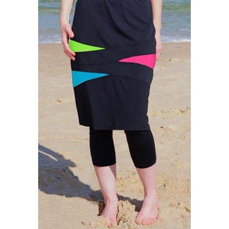 Chlorine Proof Nadadora Triangle Spliced Long Swim Skirt (22.5
