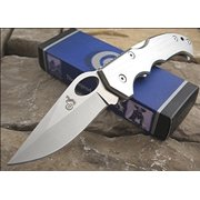 Colt Knives 359 Lockback Knife with Brushed Silver Finish Aluminum Finger Grooved Handles Multi-Colored