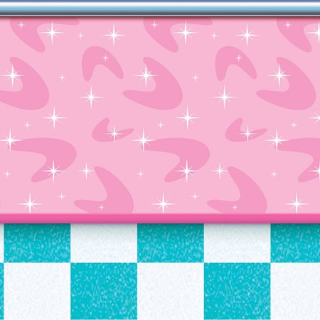 Pack of 6 Pink, Teal and Pearl 50's Inspired Soda Shop Photo Backdrop Party Decorations 30'
