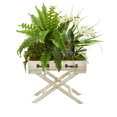 Nearly Natural 25-In. Phalaenopsis Orchid, Fern and Mixed Greens Artificial Arrangement in Drawer Planter ()