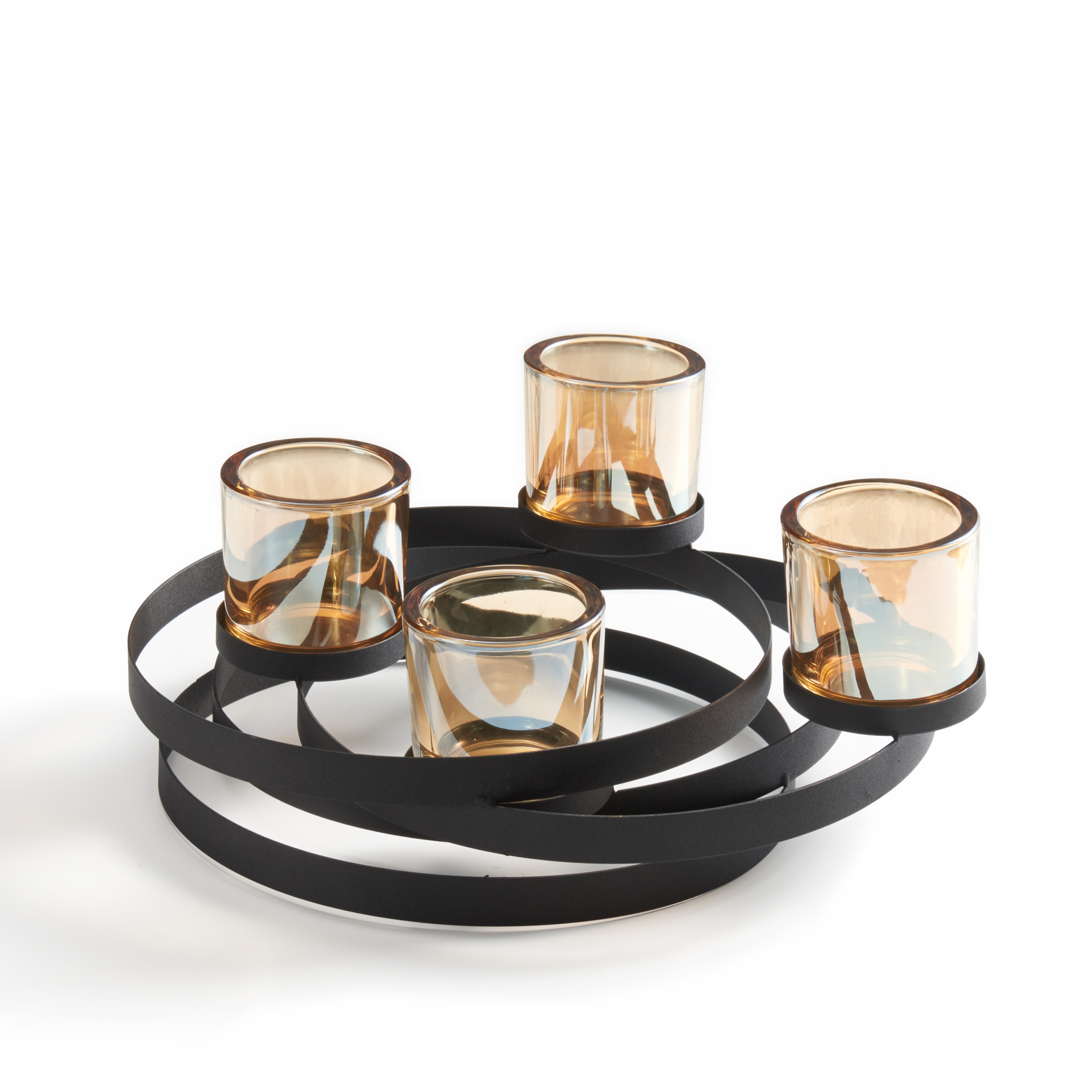 Danya B. Circles Metal Candleholder with Iridescent Glass Cups
