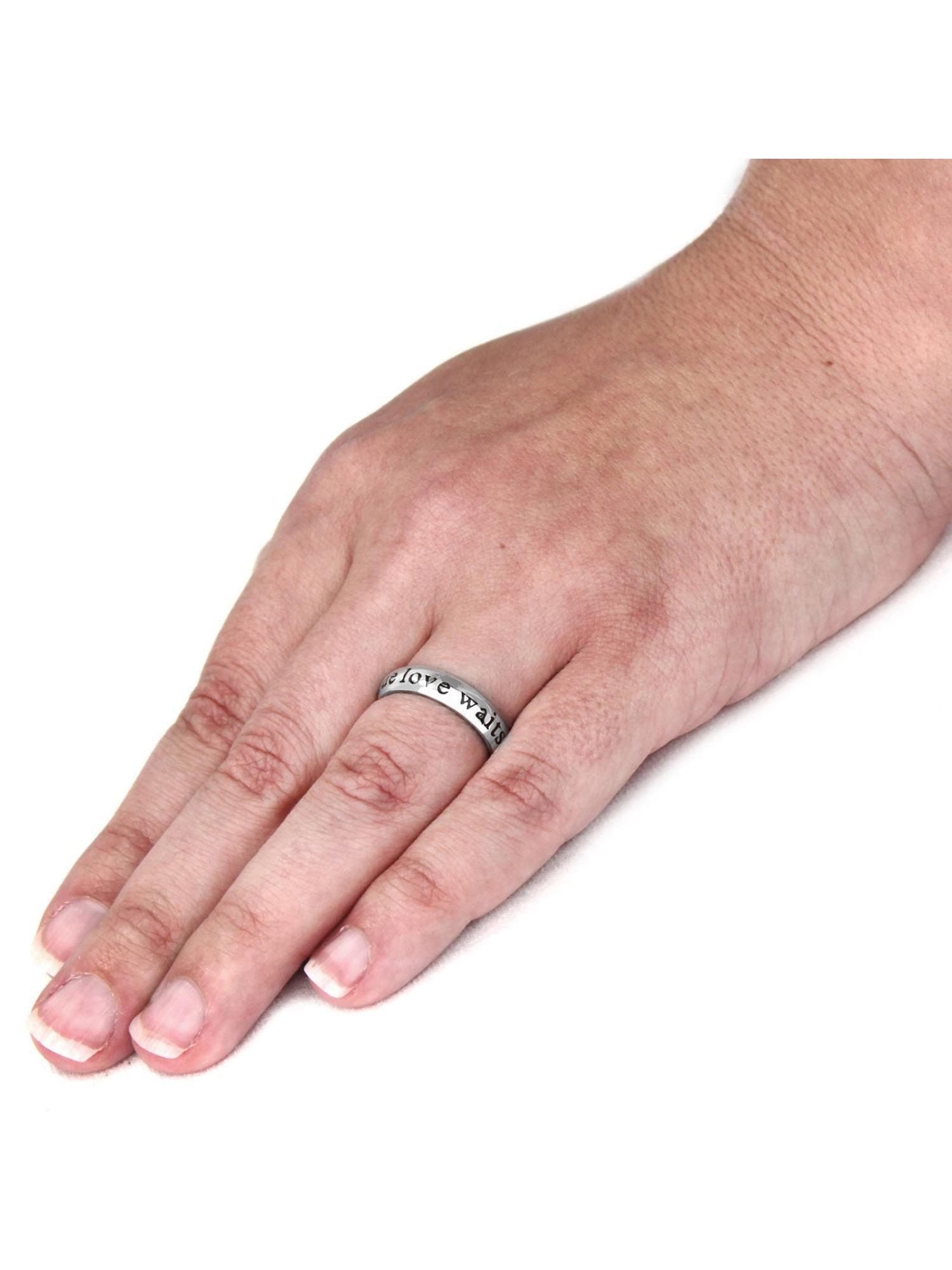 ELYA Laser-Engraved \'True Love Waits\' Stainless Steel Ring (4.5mm ...