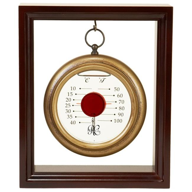 Hanging Galileo Thermometer with Cherry Finished Wood Frame