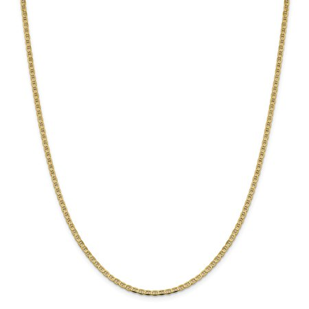 - Solid 14k Yellow Gold 2.4mm Flat Anchor Mariner Chain Necklace 16