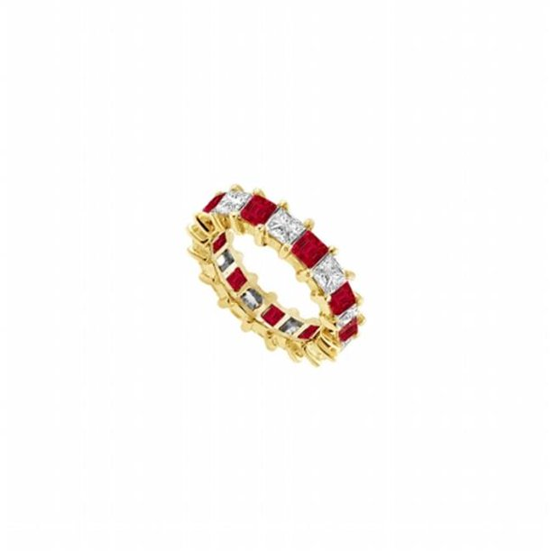 Fine Jewelry Vault UBUAGVYSQ400CZR231 CZ & Created Ruby Eternity Band, Yellow Gold Vermeil - 4 CT TGW , 10 Stones