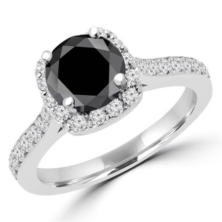 Majesty Diamonds MD160328-3 2.33 CTW Round Cut Black & White Diamond Halo Engagement Ring in 14K White Gold - Size 3 - image 1 de 1