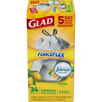 Glad ForceFlex OdorShield 13-Gallon Drawstring Trash Bags 34-Count Box