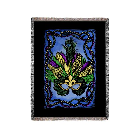 Mardi Gras - Scratchboard - Lantern Press Artwork (60x80 Woven Chenille Yarn Blanket)](Mardi Gras Throws)
