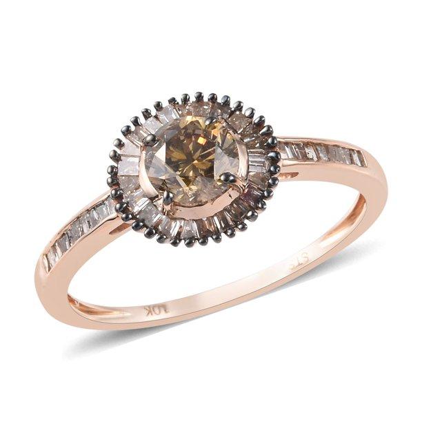 Natural Champagne Diamond Ring In 10K Rose Gold