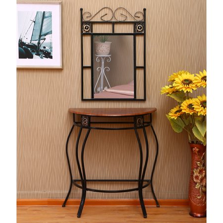 Home Source Sigurd Black Mirror and Console (Console Table And Mirror)