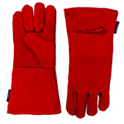 """Safe Handler, Deluxe 14"""" Welding Gloves, Heat Resistance, Leather Palm Lining Gloves, Red"""