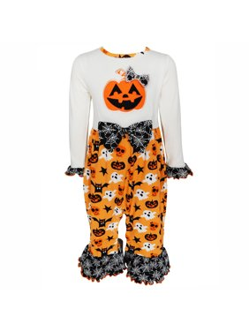 a2f6eae0ae4 Product Image AnnLoren Baby Girls Jack-O -Lantern Pumpkin Halloween Knit  Cotton Romper