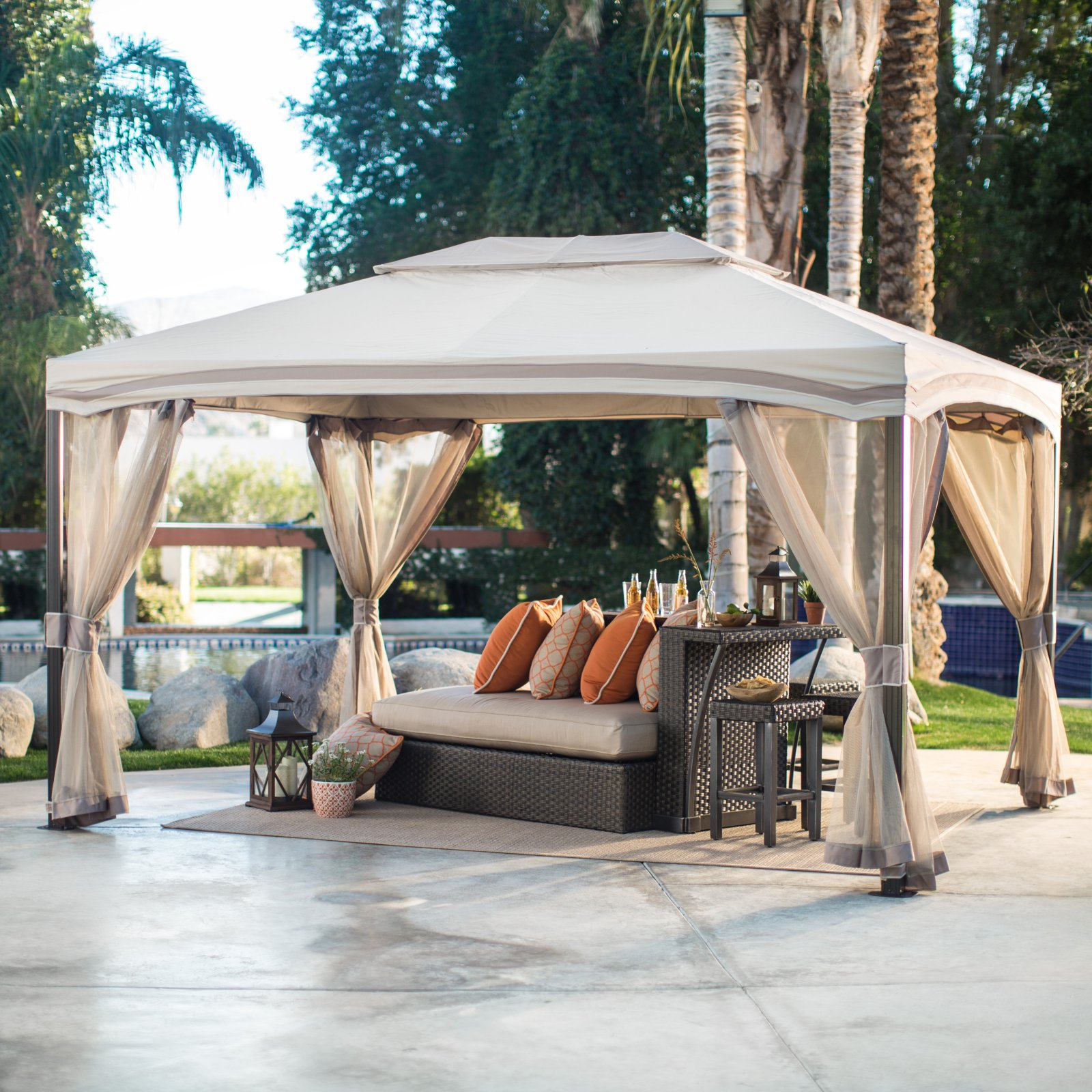 Belham Living Catina 13 x 10 ft. Cabin Style Garden House Canopy Gazebo by Pacific Casual LLC