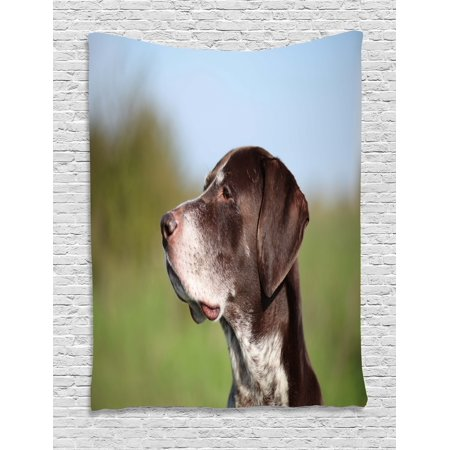 Hunting Tapestry, German Short Haired Pointer in Wilderness Portrait Photograph Kurzhaar Pet Dog, Wall Hanging for Bedroom Living Room Dorm Decor, Multicolor, by Ambesonne