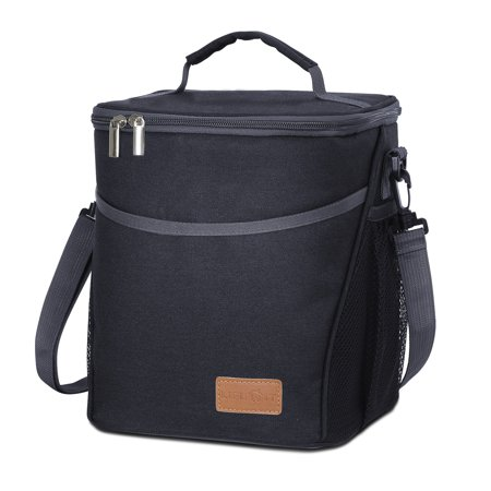 Insulated Lunch Box Lunch Bag for Adults Men Women, 9L (12-Can) Soft Cooler Bag, Water-Resistant Leakproof Thermal Bento Bag for Work/School/Picnic, Black