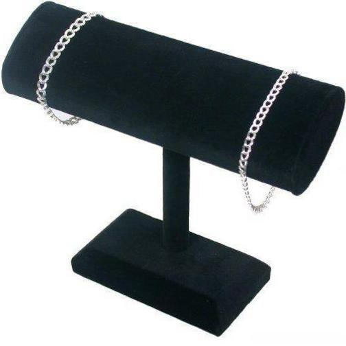 Black Velvet Oval T-Bar Bracelet & Necklace Jewelry Display