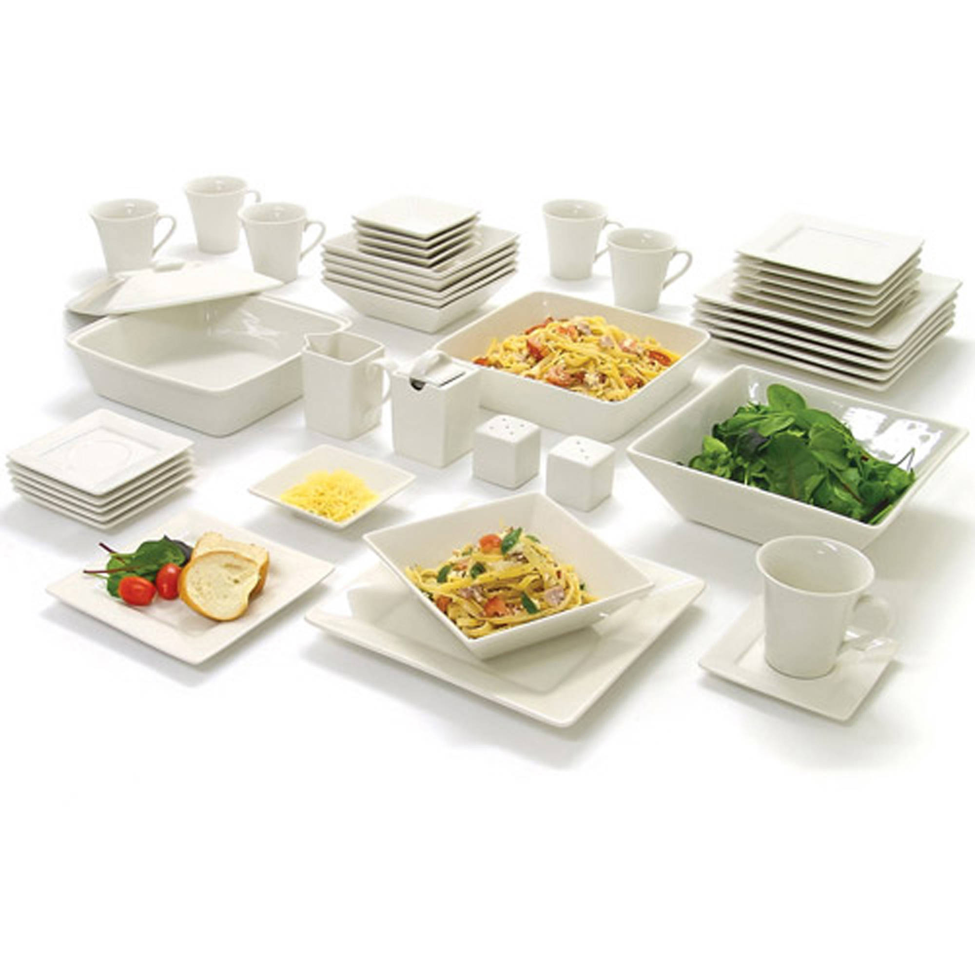 Dinnerware Set Porcelain Plates Bowls Square Banquet Dishwasher Safe 45 Piece 725175921072 | eBay  sc 1 st  eBay & Dinnerware Set Porcelain Plates Bowls Square Banquet Dishwasher Safe ...