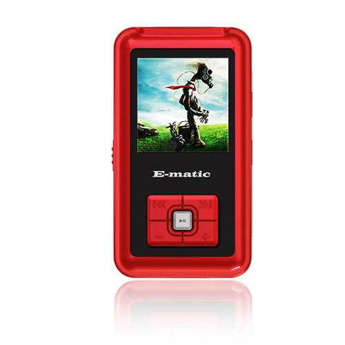 "Ematic 4GB Built-in Flash MP3 Video Player with 1.5"" Screen (Red)"