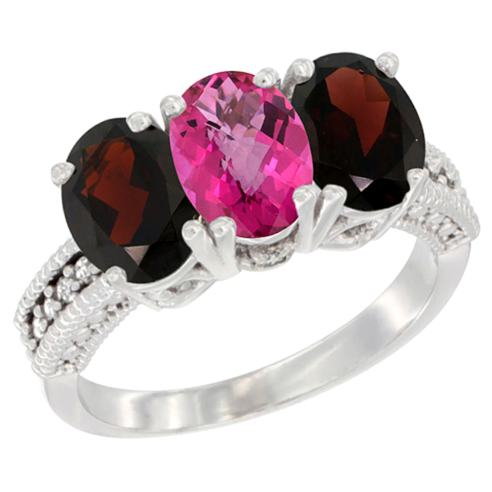 10K White Gold Natural Pink Topaz & Garnet Sides Ring 3-Stone Oval 7x5 mm Diamond Accent, sizes 5 10 by WorldJewels